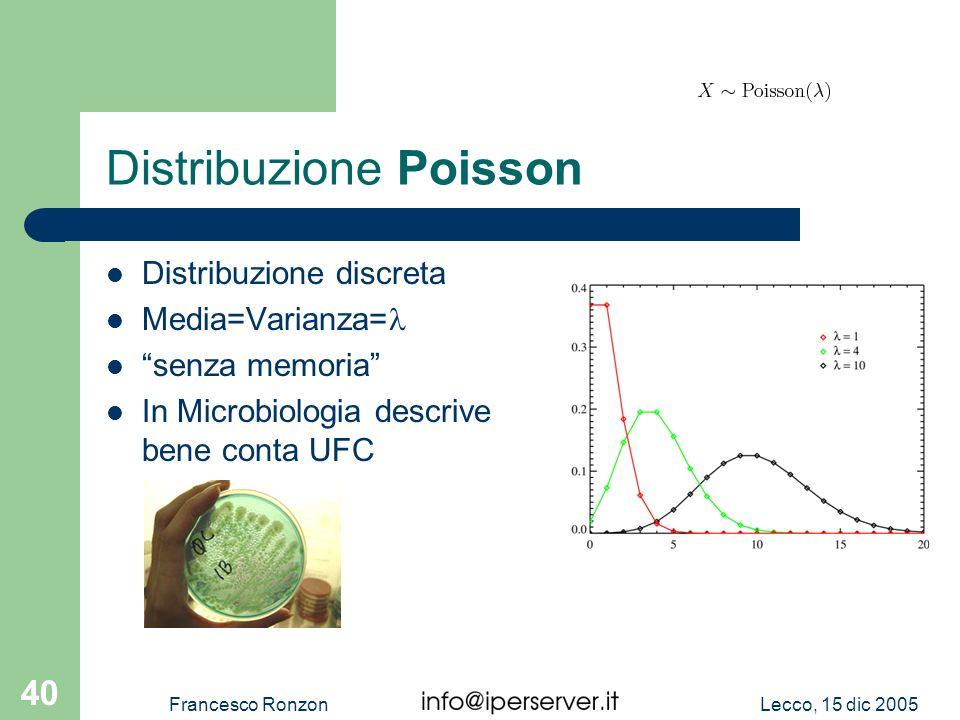 Lecco, 15 dic 2005Francesco Ronzon 40 Distribuzione Poisson Distribuzione discreta Media=Varianza= senza memoria In Microbiologia descrive bene conta