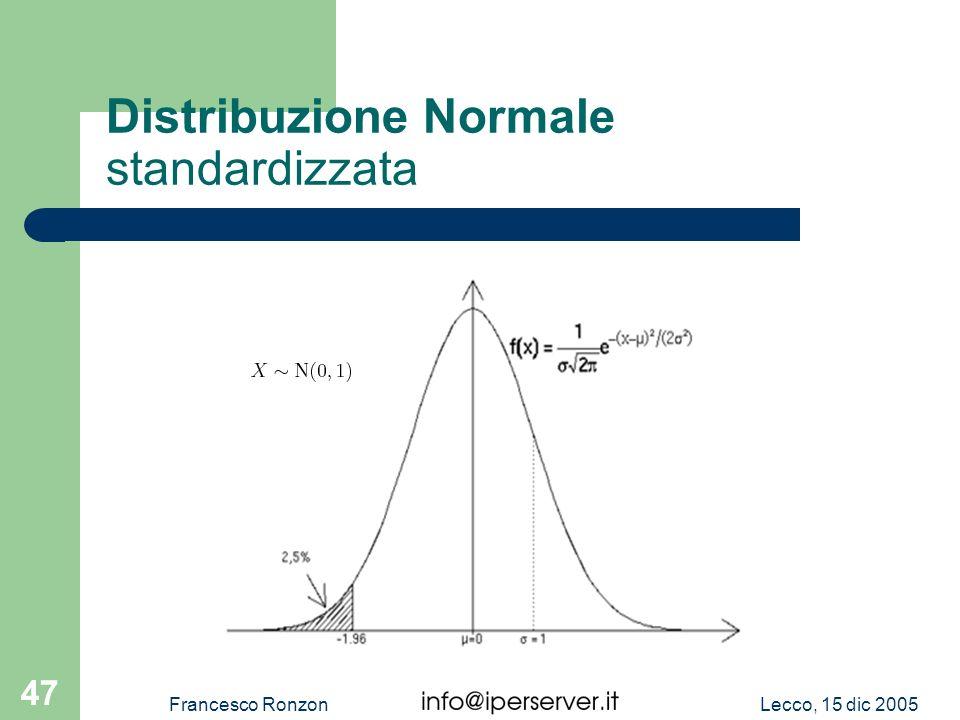 Lecco, 15 dic 2005Francesco Ronzon 47 Distribuzione Normale standardizzata