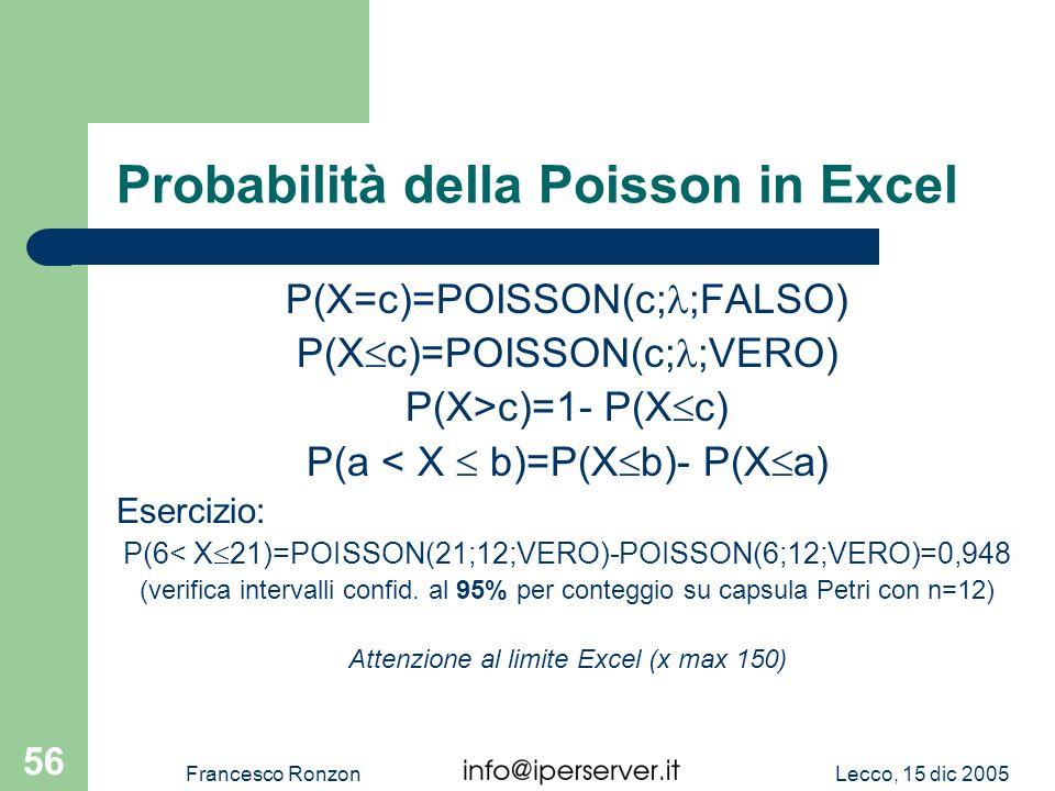 Lecco, 15 dic 2005Francesco Ronzon 56 Probabilità della Poisson in Excel P(X=c)=POISSON(c; ;FALSO) P(X c)=POISSON(c; ;VERO) P(X>c)=1- P(X c) P(a < X b