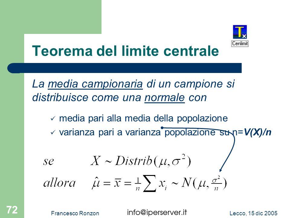 Lecco, 15 dic 2005Francesco Ronzon 72 Teorema del limite centrale La media campionaria di un campione si distribuisce come una normale con media pari