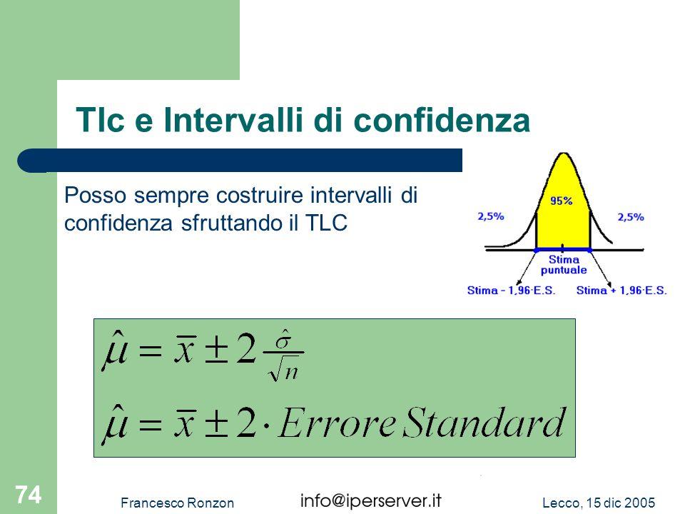 Lecco, 15 dic 2005Francesco Ronzon 74 Tlc e Intervalli di confidenza Posso sempre costruire intervalli di confidenza sfruttando il TLC