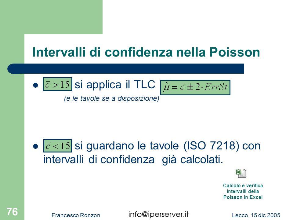 Lecco, 15 dic 2005Francesco Ronzon 76 Intervalli di confidenza nella Poisson si applica il TLC (e le tavole se a disposizione) si guardano le tavole (