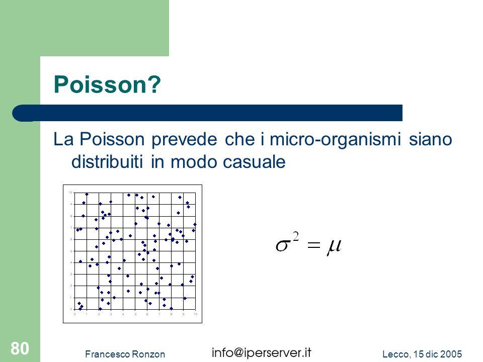 Lecco, 15 dic 2005Francesco Ronzon 80 Poisson? La Poisson prevede che i micro-organismi siano distribuiti in modo casuale