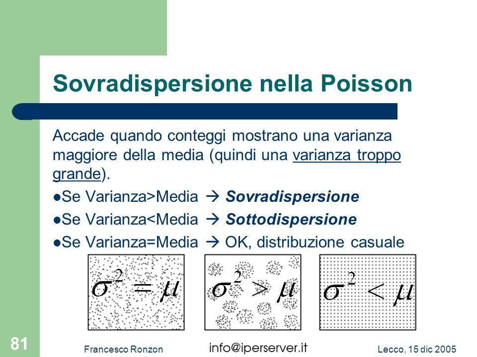 Lecco, 15 dic 2005Francesco Ronzon 81 Sovradispersione nella Poisson Accade quando conteggi mostrano una varianza maggiore della media (quindi una var
