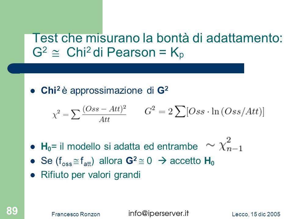 Lecco, 15 dic 2005Francesco Ronzon 89 Test che misurano la bontà di adattamento: G 2 Chi 2 di Pearson = K p Chi 2 è approssimazione di G 2 H 0 = il mo