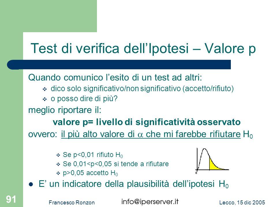 Lecco, 15 dic 2005Francesco Ronzon 91 Test di verifica dellIpotesi – Valore p Quando comunico lesito di un test ad altri: dico solo significativo/non