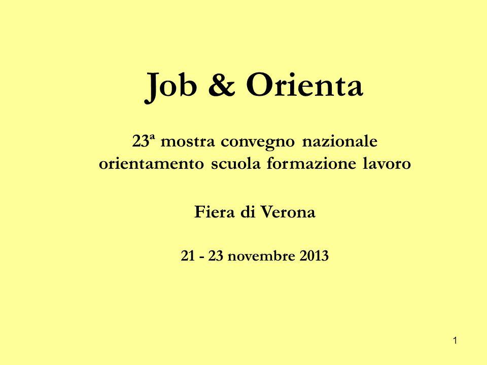1 Job & Orienta 23ª mostra convegno nazionale orientamento scuola formazione lavoro Fiera di Verona 21 - 23 novembre 2013