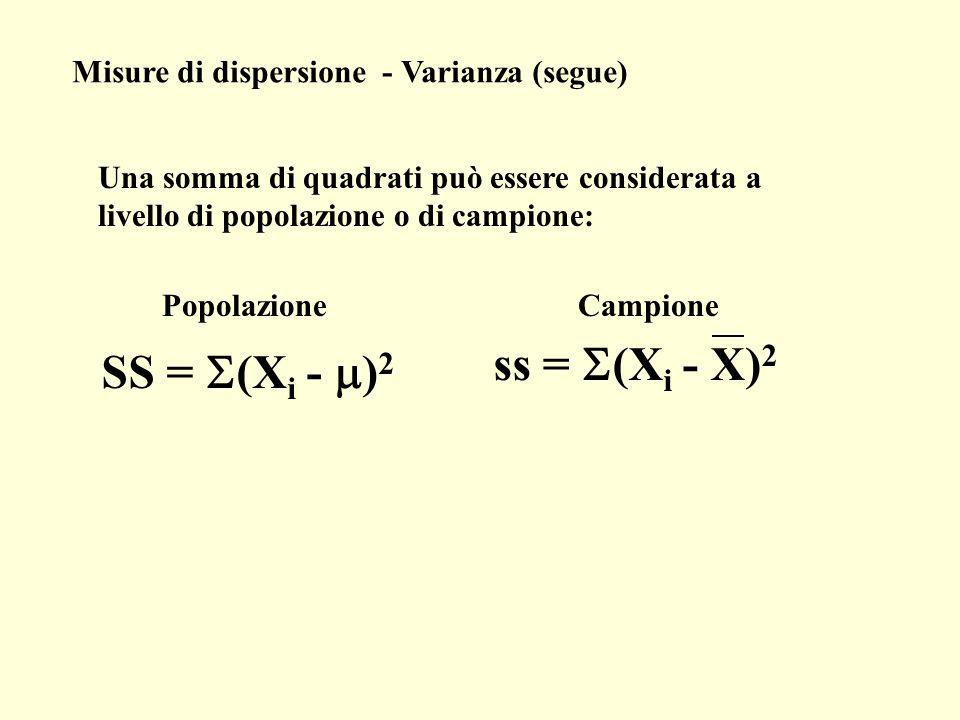 Misure di dispersione - Varianza (segue) Una somma di quadrati può essere considerata a livello di popolazione o di campione: ss = (X i - X) 2 Campion