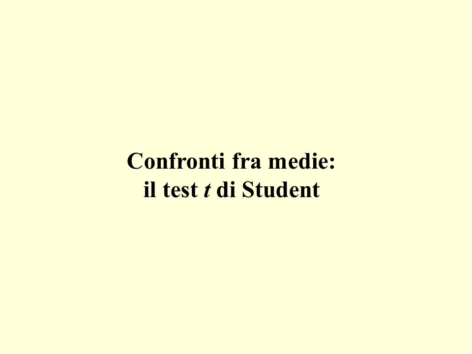 Confronti fra medie: il test t di Student