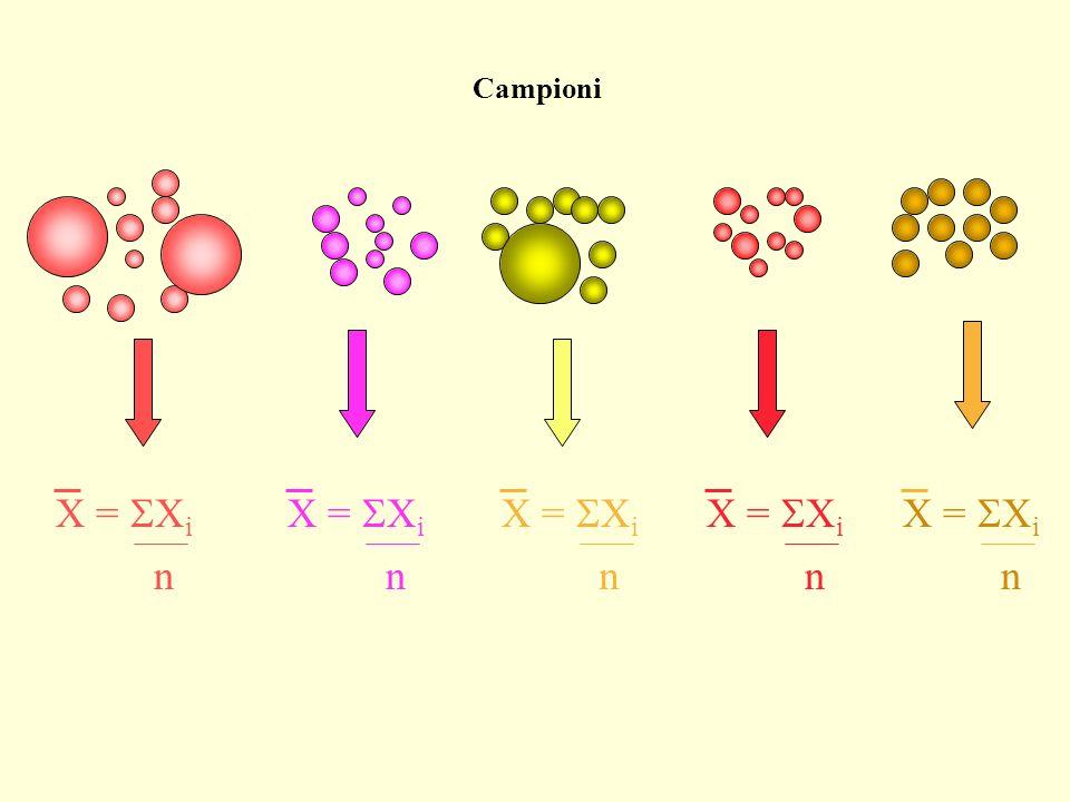 Se il campionamento è corretto… X = X i n n n n n ogni stima approssima