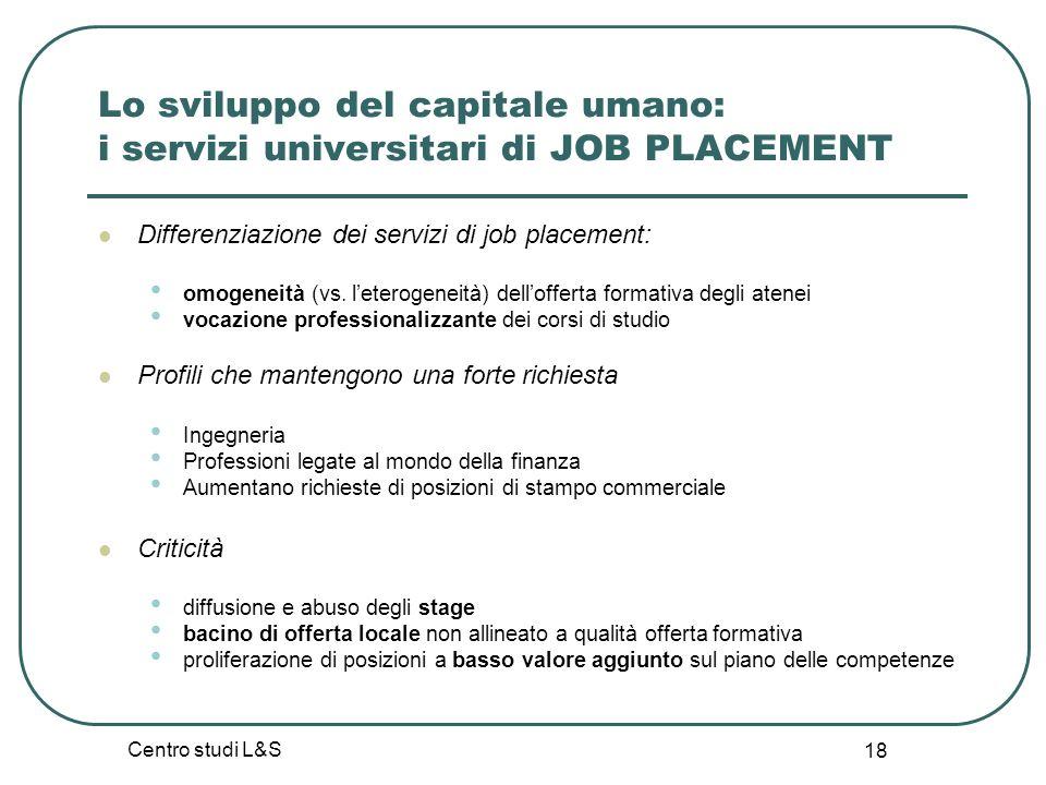 Centro studi L&S 18 Lo sviluppo del capitale umano: i servizi universitari di JOB PLACEMENT Differenziazione dei servizi di job placement: omogeneità (vs.