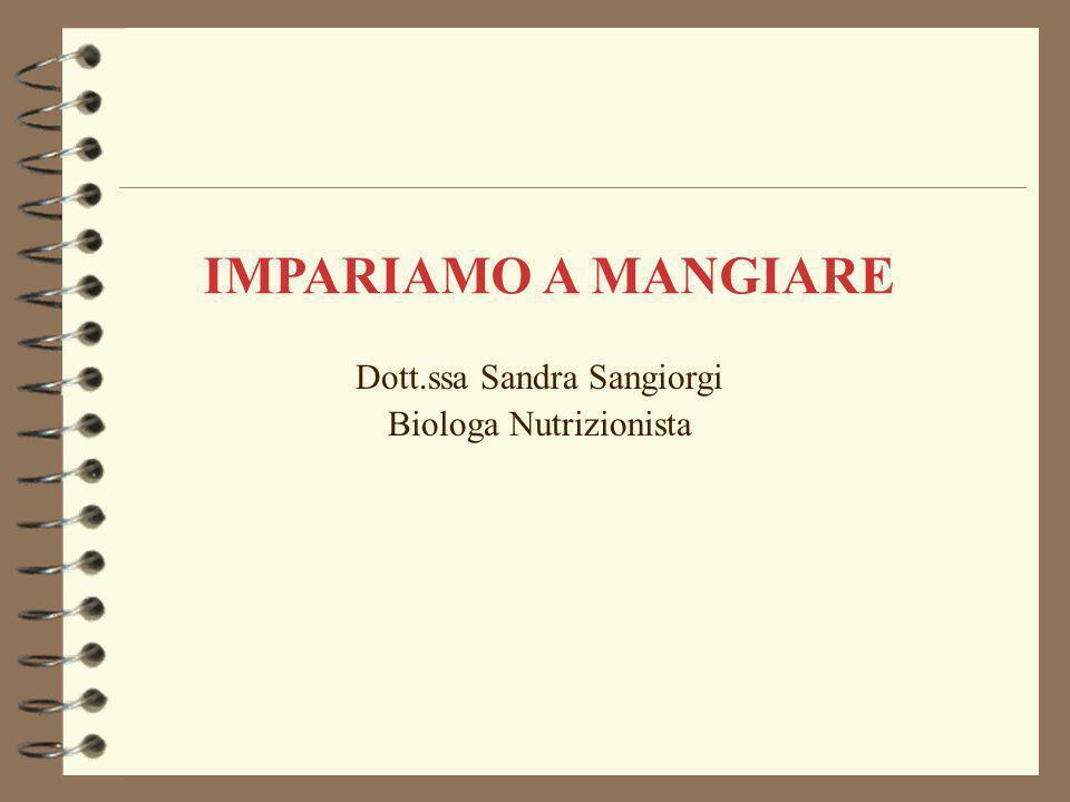 Dott.ssa Sandra Sangiorgi Biologa Nutrizionista IMPARIAMO A MANGIARE