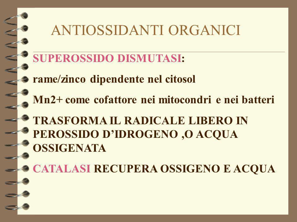 ANTIOSSIDANTI ORGANICI SUPEROSSIDO DISMUTASI: rame/zinco dipendente nel citosol Mn2+ come cofattore nei mitocondri e nei batteri TRASFORMA IL RADICALE LIBERO IN PEROSSIDO DIDROGENO,O ACQUA OSSIGENATA CATALASI RECUPERA OSSIGENO E ACQUA