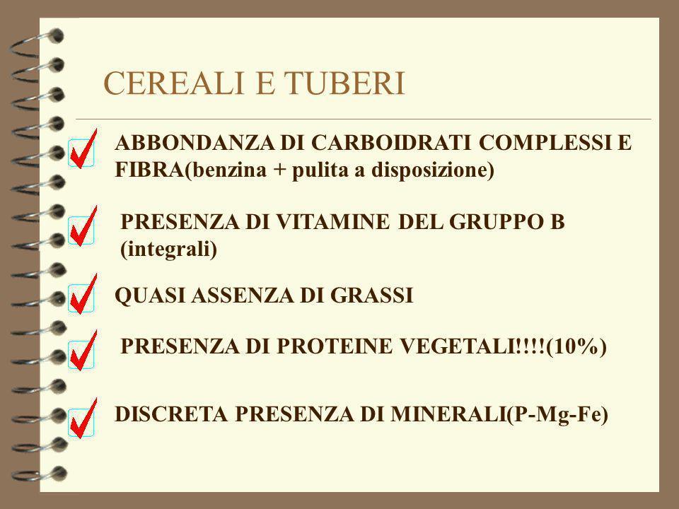 ABBONDANZA DI CARBOIDRATI COMPLESSI E FIBRA(benzina + pulita a disposizione) QUASI ASSENZA DI GRASSI PRESENZA DI VITAMINE DEL GRUPPO B (integrali) DIS
