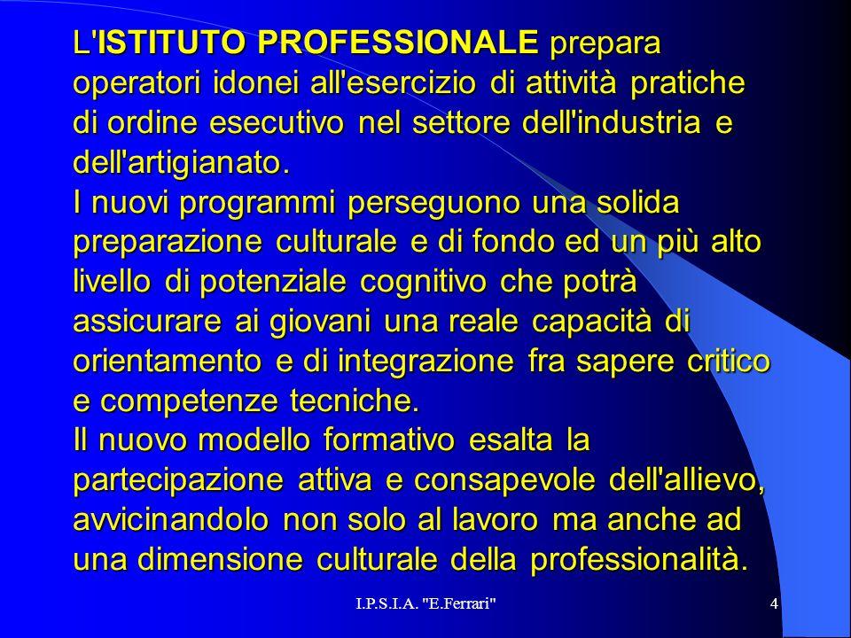 4 L'ISTITUTO L'ISTITUTO PROFESSIONALE PROFESSIONALE prepara operatori idonei all'esercizio di attività pratiche di ordine esecutivo nel settore dell'i