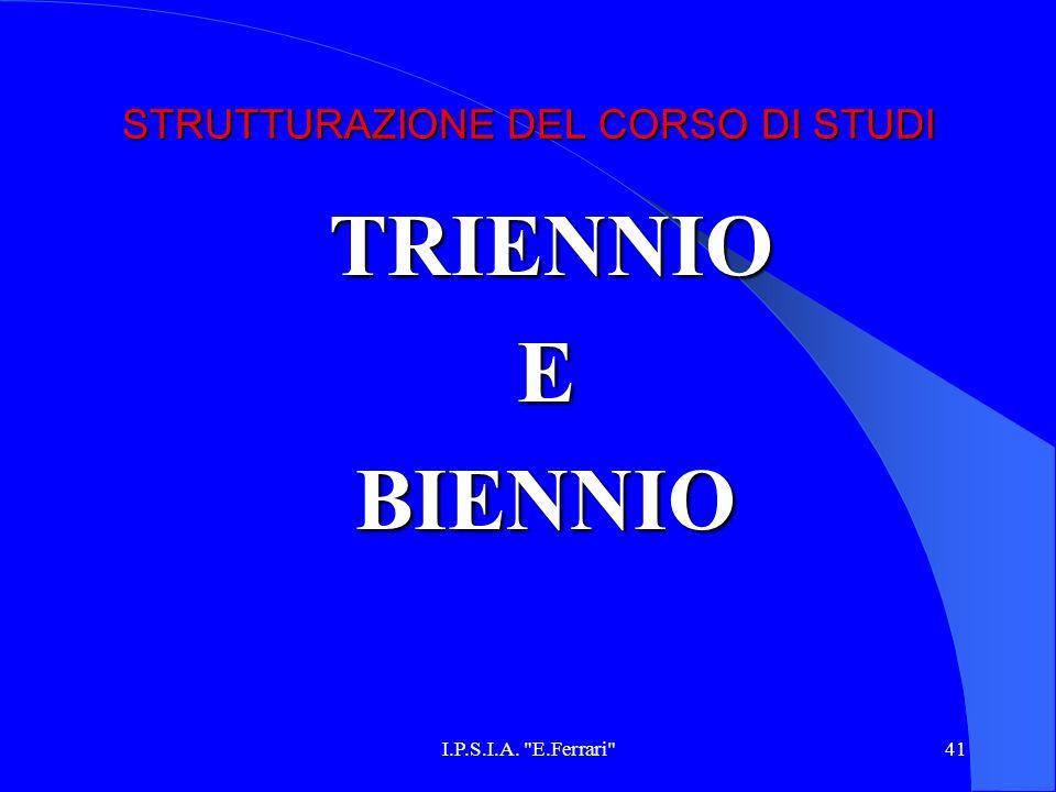 I.P.S.I.A. E.Ferrari 41 STRUTTURAZIONE DEL CORSO DI STUDI TRIENNIO TRIENNIOEBIENNIO
