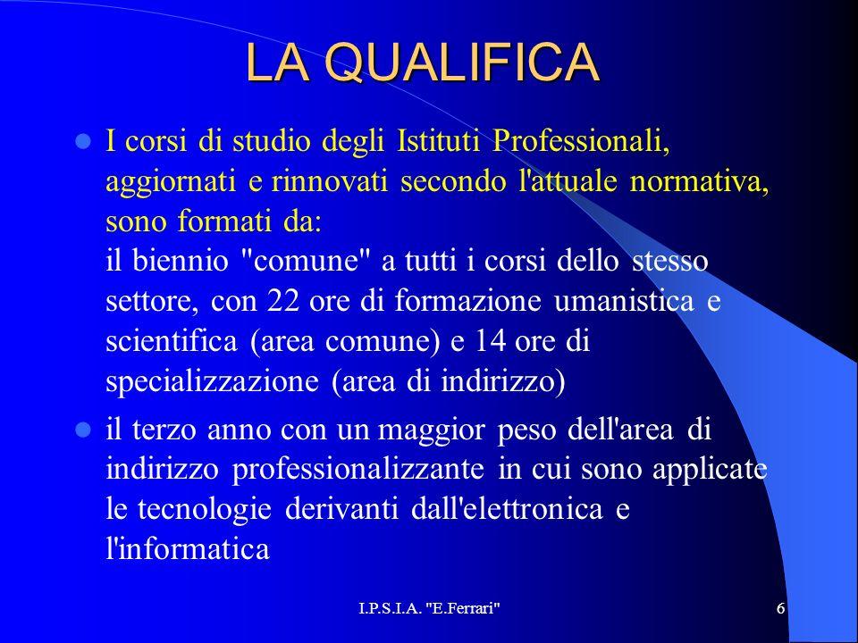 6 LA QUALIFICA I corsi di studio degli Istituti Professionali, aggiornati e rinnovati secondo l'attuale normativa, sono formati da: il biennio