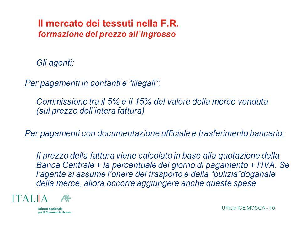 Ufficio ICE MOSCA - 10 Il mercato dei tessuti nella F.R. formazione del prezzo allingrosso Gli agenti: Per pagamenti in contanti e illegali: Commissio
