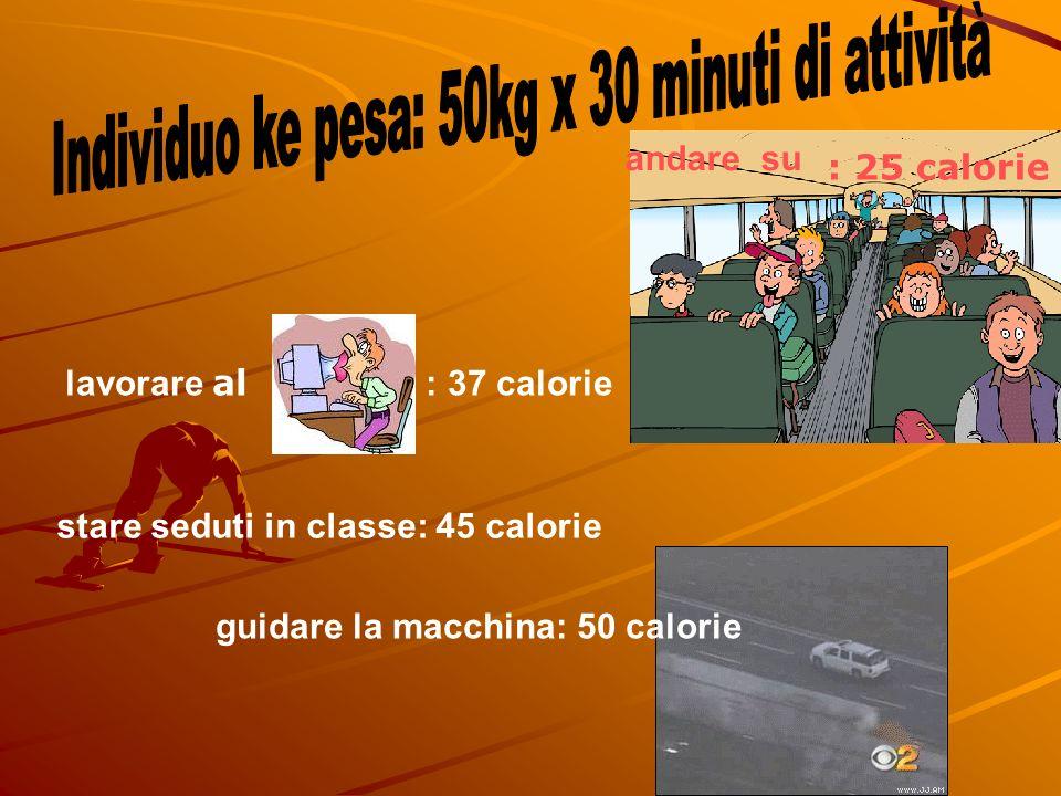 lavorare al : 37 calorie stare seduti in classe: 45 calorie andare su : 25 calorie guidare la macchina: 50 calorie