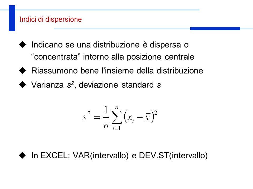 Quartili e percentili Dato un insieme di valori ordinato, il percentile p- esimo è il valore che separa p% dei dati dal resto La mediana puo` essere interpretata come il 50-esimo percentile In Excel: PERCENTILE(range;p) dove 0 <= p <= 1 Il quartile separa un quarto dei dati dal resto Si parla di primo (25%), secondo (50%), terzo (75%) quartile In Excel: QUARTILE(range;n) dove n = 1, 2 o 3