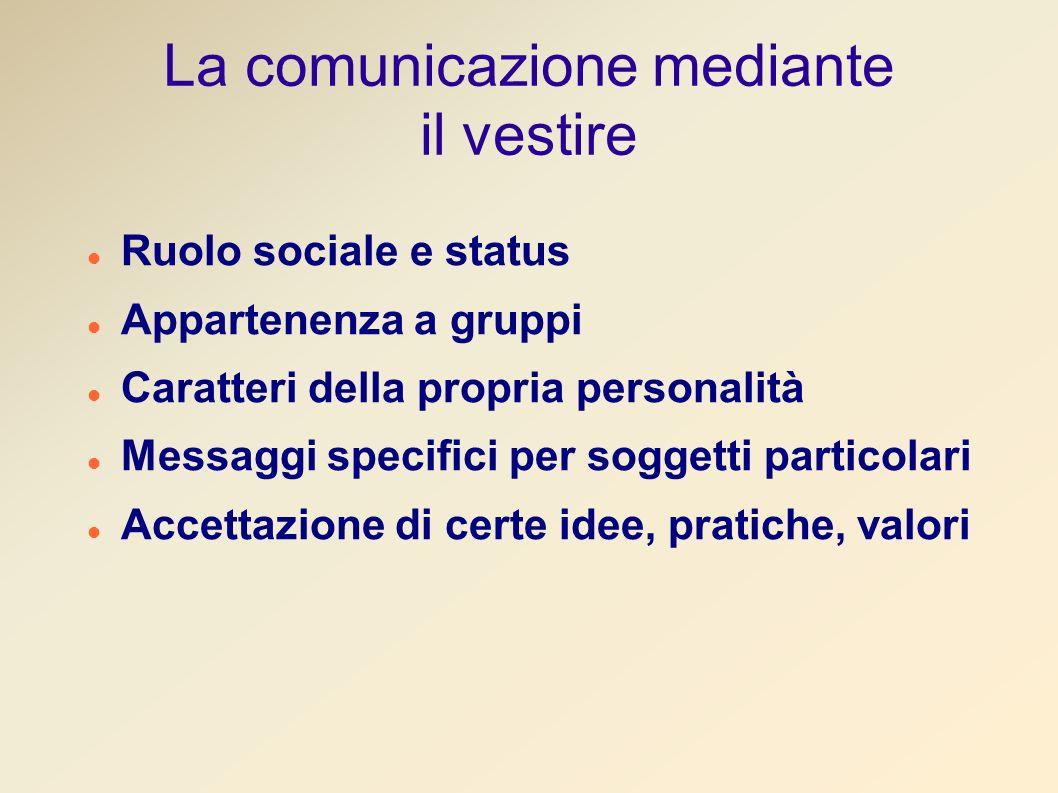 La comunicazione mediante il vestire Ruolo sociale e status Appartenenza a gruppi Caratteri della propria personalità Messaggi specifici per soggetti particolari Accettazione di certe idee, pratiche, valori