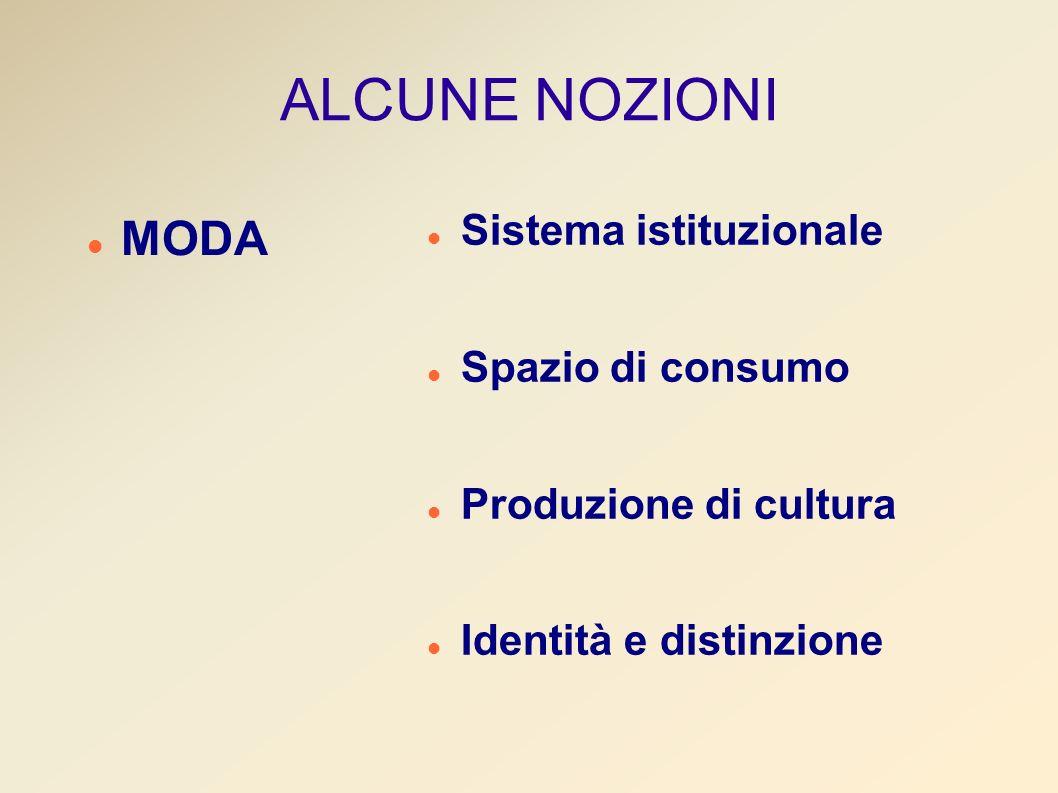 ALCUNE NOZIONI MODA Sistema istituzionale Spazio di consumo Produzione di cultura Identità e distinzione