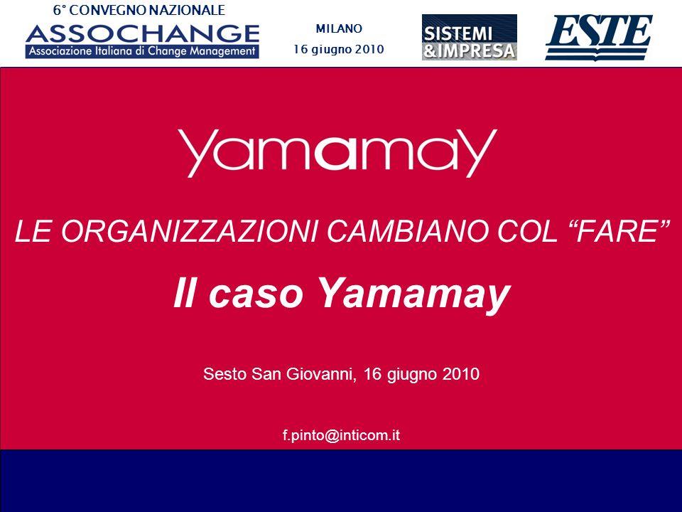 6° CONVEGNO NAZIONALE MILANO 16 giugno 2010 LE ORGANIZZAZIONI CAMBIANO COL FARE Il caso Yamamay Sesto San Giovanni, 16 giugno 2010 f.pinto@inticom.it