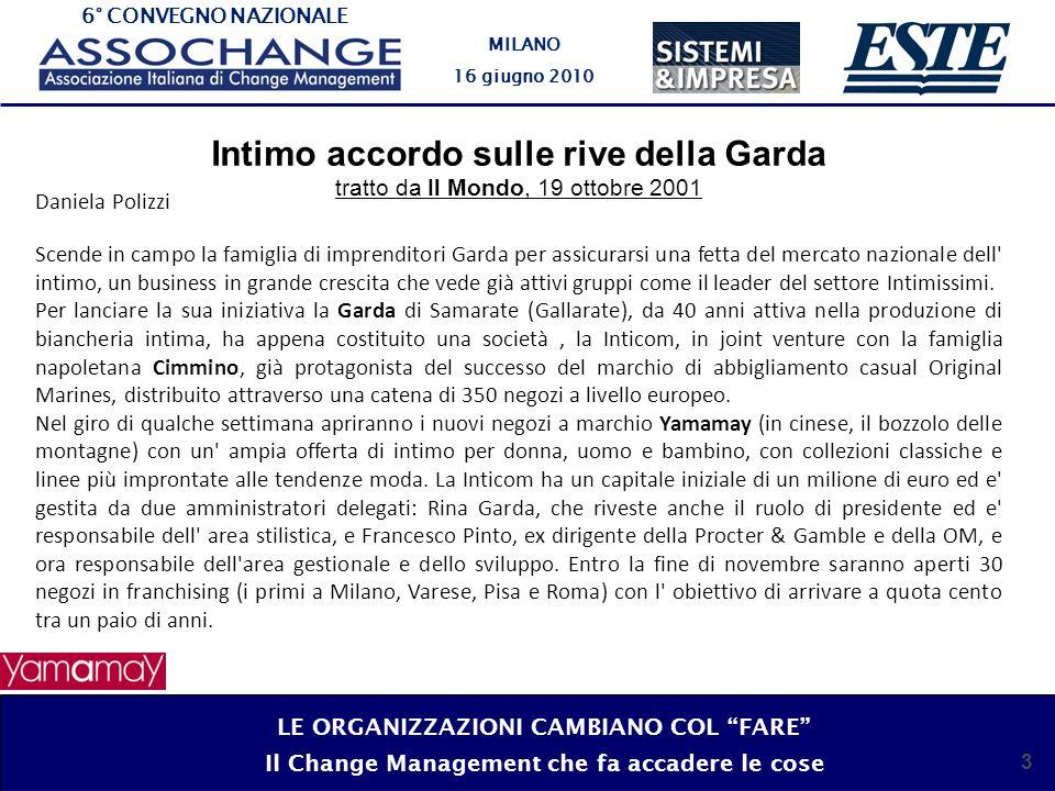 6° CONVEGNO NAZIONALE MILANO 16 giugno 2010 3 Intimo accordo sulle rive della Garda tratto da Il Mondo, 19 ottobre 2001 Daniela Polizzi Scende in camp