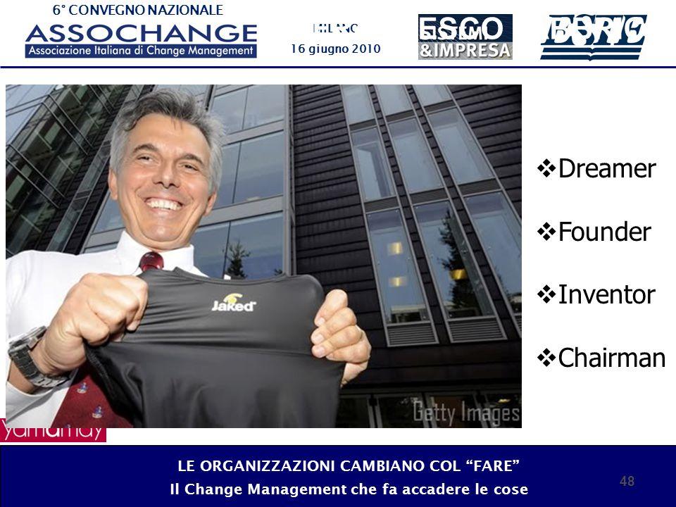 6° CONVEGNO NAZIONALE MILANO 16 giugno 2010 48 Dreamer Founder Inventor Chairman FRANCESCO FABBRICA LE ORGANIZZAZIONI CAMBIANO COL FARE Il Change Mana