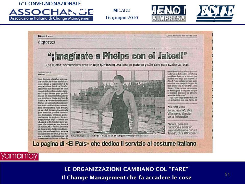 6° CONVEGNO NAZIONALE MILANO 16 giugno 2010 51 J01 – UN FENOMENO MONDIALE LE ORGANIZZAZIONI CAMBIANO COL FARE Il Change Management che fa accadere le cose