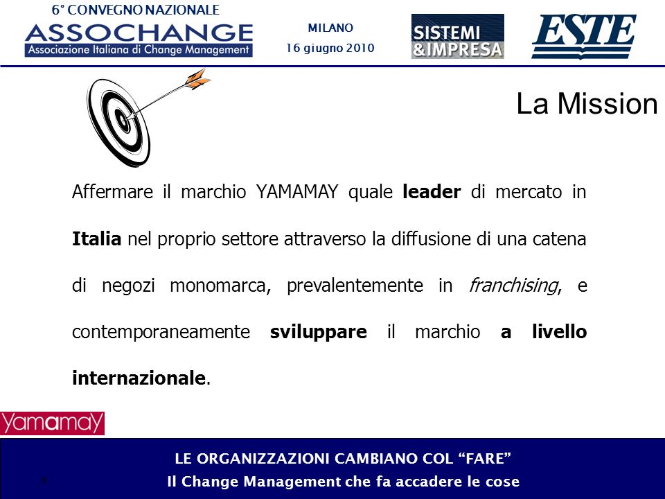 6° CONVEGNO NAZIONALE MILANO 16 giugno 2010 9 Affermare il marchio YAMAMAY quale leader di mercato in Italia nel proprio settore attraverso la diffusione di una catena di negozi monomarca, prevalentemente in franchising, e contemporaneamente sviluppare il marchio a livello internazionale.