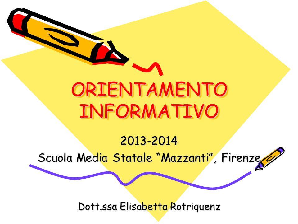 ORIENTAMENTO INFORMATIVO 2013-2014 Scuola Media Statale Mazzanti, Firenze Dott.ssa Elisabetta Rotriquenz
