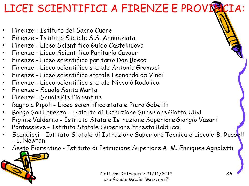 Dott.ssa Rotriquenz 21/11/2013 c/o Scuola Media Mazzanti Firenze - Istituto del Sacro Cuore Firenze - Istituto Statale S.S.