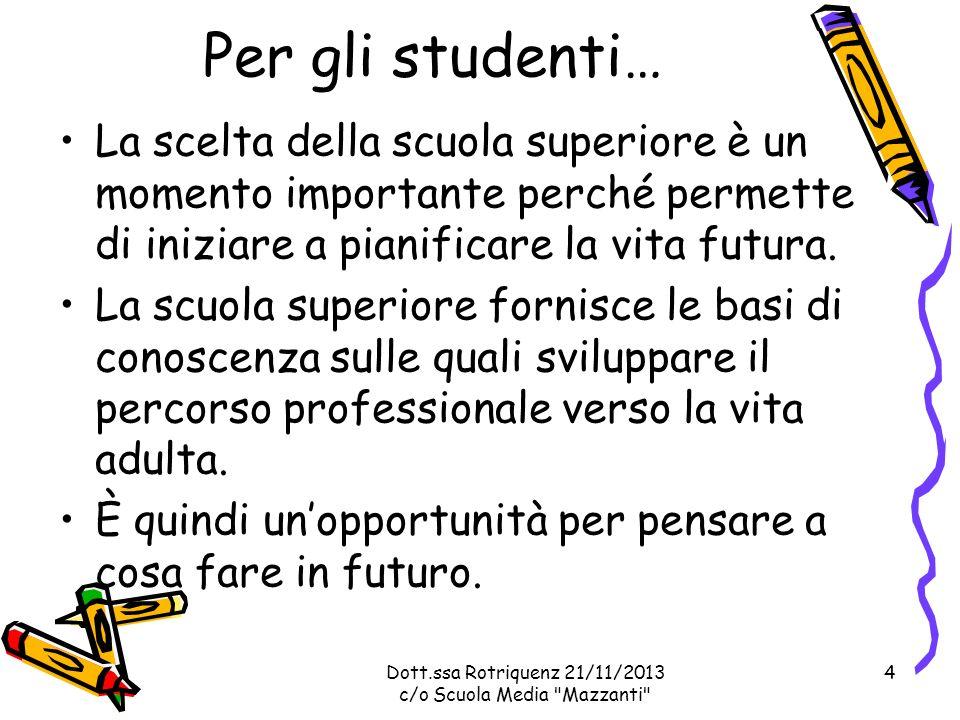 Per gli studenti… La scelta della scuola superiore è un momento importante perché permette di iniziare a pianificare la vita futura.