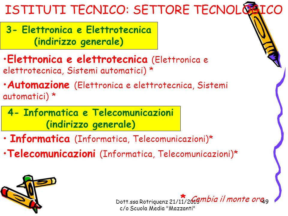 Dott.ssa Rotriquenz 21/11/2013 c/o Scuola Media Mazzanti ISTITUTI TECNICO: SETTORE TECNOLOGICO Elettronica e elettrotecnica (Elettronica e elettrotecnica, Sistemi automatici) * Automazione (Elettronica e elettrotecnica, Sistemi automatici) * 3- Elettronica e Elettrotecnica (indirizzo generale) Informatica (Informatica, Telecomunicazioni)* Telecomunicazioni (Informatica, Telecomunicazioni)* * Cambia il monte ore 4- Informatica e Telecomunicazioni (indirizzo generale) 49