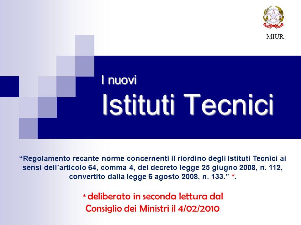 I nuovi Istituti Tecnici MIUR Regolamento recante norme concernenti il riordino degli Istituti Tecnici ai sensi dellarticolo 64, comma 4, del decreto legge 25 giugno 2008, n.