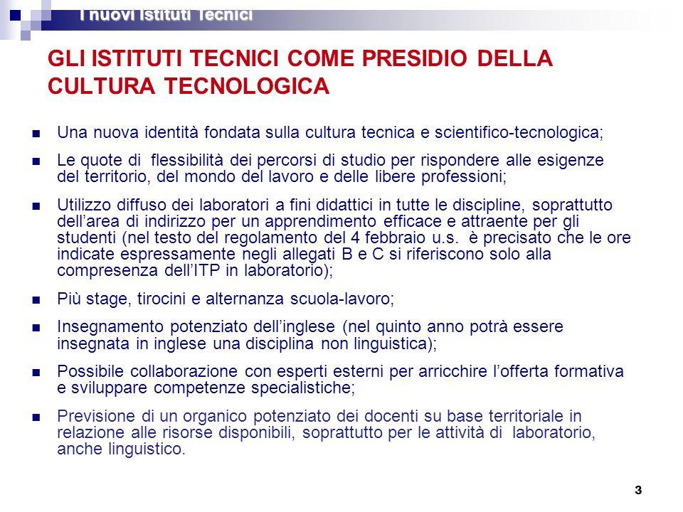 3 GLI ISTITUTI TECNICI COME PRESIDIO DELLA CULTURA TECNOLOGICA Una nuova identità fondata sulla cultura tecnica e scientifico-tecnologica; Le quote di