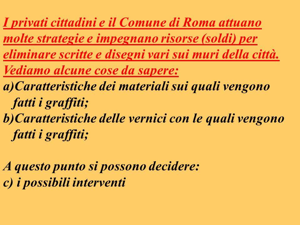 I privati cittadini e il Comune di Roma attuano molte strategie e impegnano risorse (soldi) per eliminare scritte e disegni vari sui muri della città.