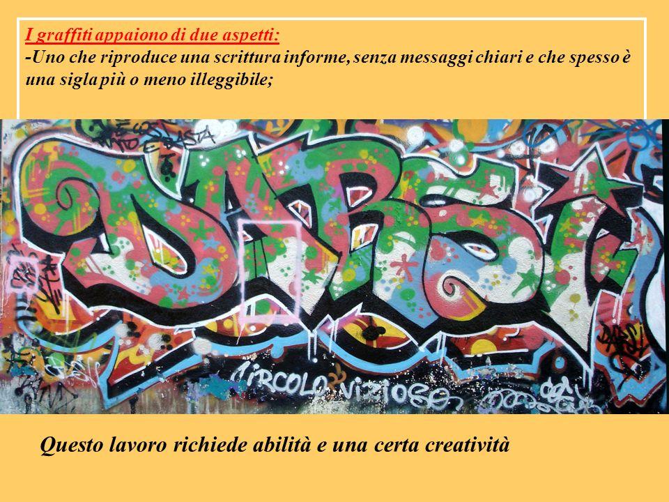 I graffiti appaiono di due aspetti: -Uno che riproduce una scrittura informe, senza messaggi chiari e che spesso è una sigla più o meno illeggibile; Q
