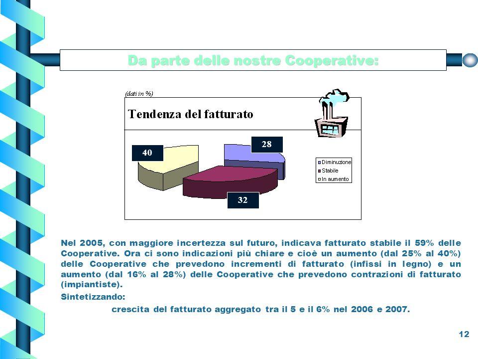 12 Nel 2005, con maggiore incertezza sul futuro, indicava fatturato stabile il 59% delle Cooperative.