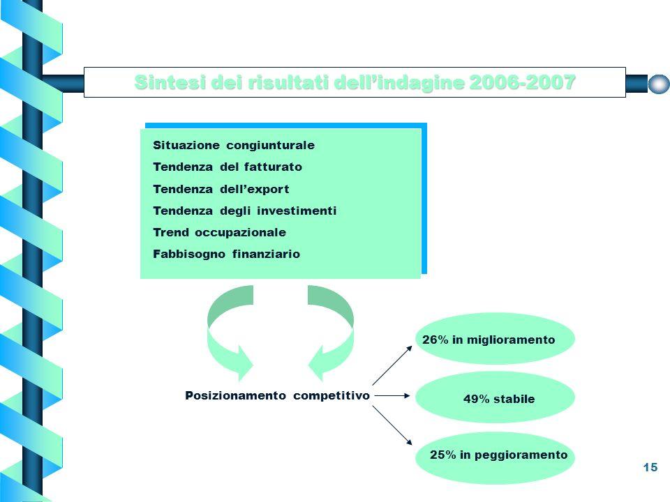15 Sintesi dei risultati dellindagine 2006-2007 Situazione congiunturale Tendenza del fatturato Tendenza dellexport Tendenza degli investimenti Trend occupazionale Fabbisogno finanziario Posizionamento competitivo 26% in miglioramento 49% stabile 25% in peggioramento