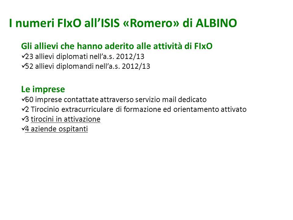 I numeri FIxO allISIS «Romero» di ALBINO Gli allievi che hanno aderito alle attività di FIxO 23 allievi diplomati nella.s. 2012/13 52 allievi diploman