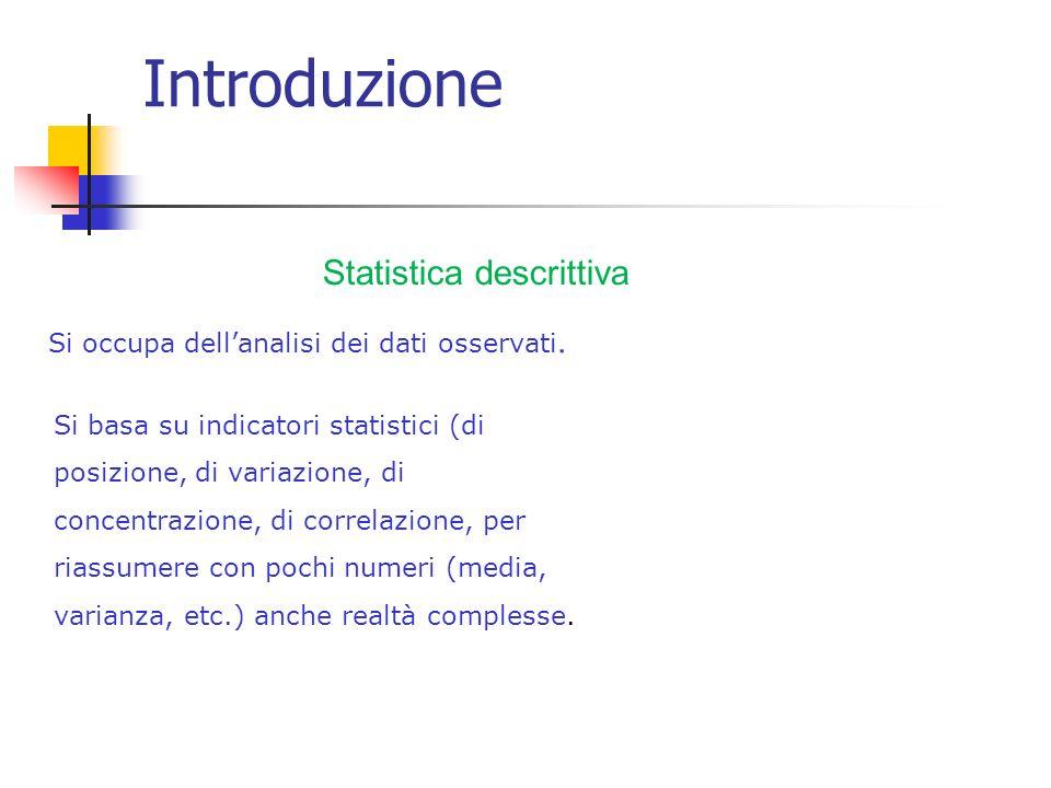 Introduzione Statistica descrittiva Si occupa dellanalisi dei dati osservati.