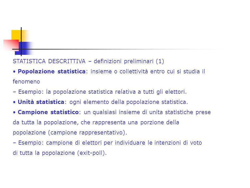 Statistica inferenziale Ha come obiettivo affermazioni valide anche per cose che non sono state osservate, generalizzando i risultati dei dati osservati, oppure per verificare ipotesi.