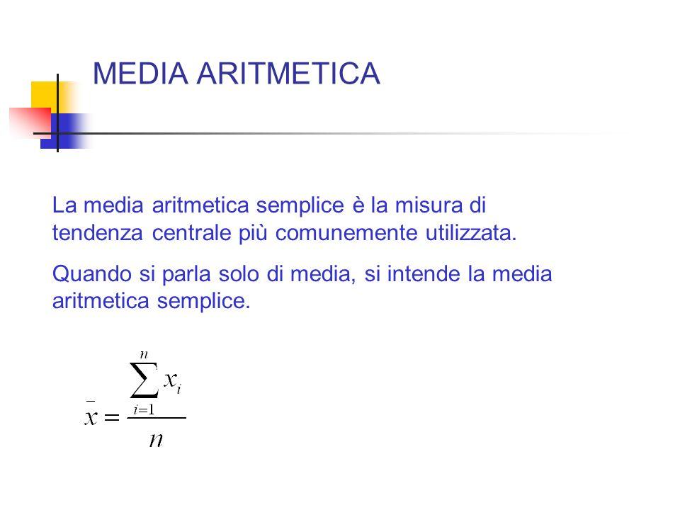 MEDIA ARITMETICA La media aritmetica semplice è la misura di tendenza centrale più comunemente utilizzata.