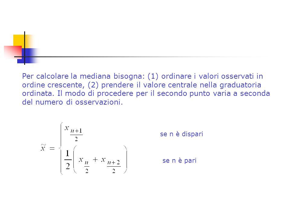 Per calcolare la mediana bisogna: (1) ordinare i valori osservati in ordine crescente, (2) prendere il valore centrale nella graduatoria ordinata.