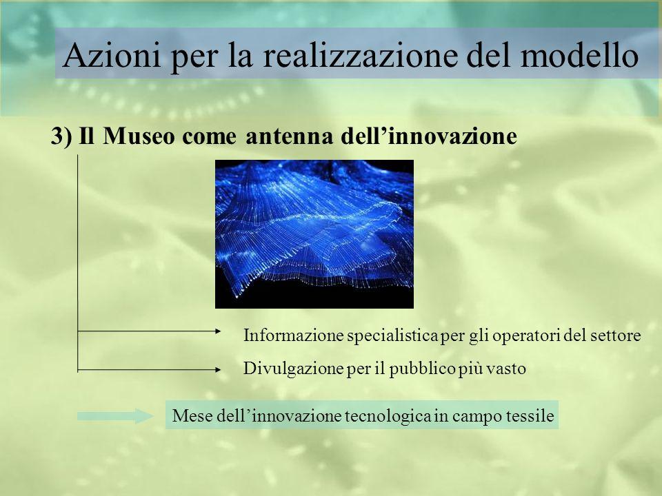 Azioni per la realizzazione del modello Informazione specialistica per gli operatori del settore Divulgazione per il pubblico più vasto 3) Il Museo co
