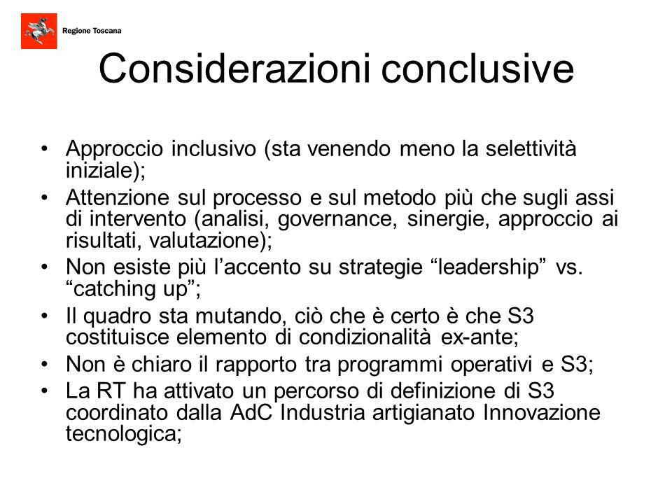 Considerazioni conclusive Approccio inclusivo (sta venendo meno la selettività iniziale); Attenzione sul processo e sul metodo più che sugli assi di i