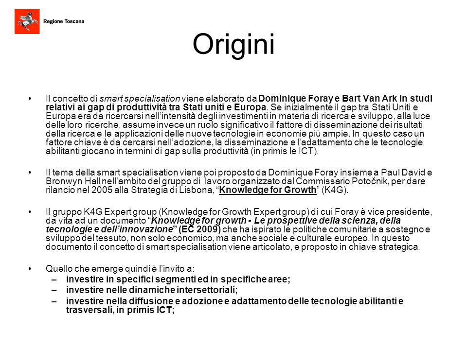 Orientamenti Comunitari La Smart Specialisation, individuata anche nel Rapporto Barca Unagenda per una politica di coesione riformata, è stata evidenziata dalla Commissione Europea come uno dei pilastri centrali della Strategia Europa 2020, riportata nella comunicazione COM(2010)546 sullIniziativa Faro dellUnione dellInnovazione e nella comunicazione COM(2010)700 sulla revisione del bilancio dell Unione Europea.