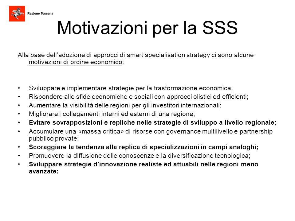Motivazioni per la SSS Alla base delladozione di approcci di smart specialisation strategy ci sono alcune motivazioni di ordine economico: Sviluppare